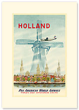 Holland, PanAm World Airways - Premium Vintage Collectible Blank Greeting Card