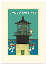 United Air Lines: Lighthouse - Premium Vintage Collectible Blank Greeting Card
