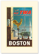 Trans World Airlines: Fly TWA - Boston - Premium Vintage Collectible Blank Greeting Card