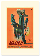 Mexico: Mariachi Cactus - Premium Vintage Collectible Blank Greeting Card