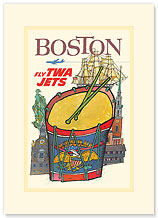 Trans World Airlines: Boston - Fly TWA Jets - Premium Vintage Collectible Blank Greeting Card