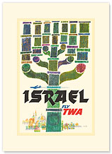 Trans World Airlines: Israel - Fly TWA - Premium Vintage Collectible Blank Greeting Card