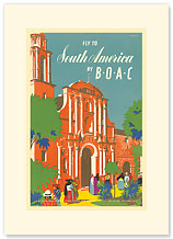 British Overseas Airways Corporation: Fly to South America by BOAC - Premium Vintage Collectible Blank Greeting Card