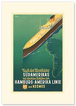 Hamburg America Line: HAPAG Nach der Westkuste Sudamerikas - Premium Vintage Collectible Blank Greeting Card