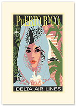 Delta Air Lines: Puerto Rico - Premium Vintage Collectible Blank Greeting Card
