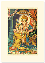 Lord Ganesha - Premium Vintage Collectible Blank Greeting Card