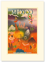 Direccion General de Turismo: Mexico - Premium Vintage Collectible Blank Greeting Card