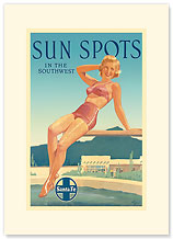 Santa Fe Railroad: Sun Spots in the Southwest - Premium Vintage Collectible Blank Greeting Card