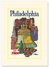 Trans World Airlines: Philadelphia - Fly TWA - Premium Vintage Collectible Blank Greeting Card