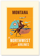 Fly Northwest Orient Airlines: Montana - Premium Vintage Collectible Blank Greeting Card