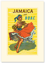 British Overseas Airways Corporation: Jamaica - Jet BOAC - Premium Vintage Collectible Blank Greeting Card