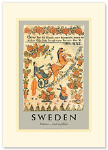 Dalarna, Sweden, Land of Folklore - Premium Vintage Collectible Blank Greeting Card
