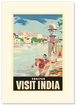 Lake Udaipur: Visit India - Premium Vintage Collectible Blank Greeting Card
