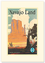 Santa Fe Railroad: Navajo Land - Premium Vintage Collectible Blank Greeting Card