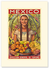 Direccion General de Turismo: Mexico - Plenty of Fruit - Premium Vintage Collectible Blank Greeting Card