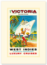 Victoria Incres Line: West Indies - Luxury Cruises - Premium Vintage Collectible Blank Greeting Card