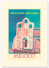 Western Airlines: Mexico - Premium Vintage Collectible Blank Greeting Card