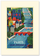 Aviation: Paris - La Seine - Premium Vintage Collectible Blank Greeting Card