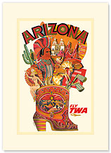 Trans World Airlines: Arizona - Fly TWA - Premium Vintage Collectible Blank Greeting Card