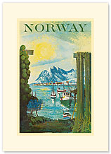 Norway: Fishing Village - Premium Vintage Collectible Blank Greeting Card