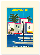 Aviation French Riviera - Premium Vintage Collectible Blank Greeting Card