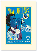 Delta Airlines, New Orleans - Jazz Trumpet Player - Premium Vintage Collectible Blank Greeting Card