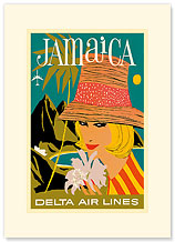 Delta Air Lines: Jamaica - Premium Vintage Collectible Blank Greeting Card