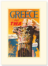 Greece Fly TWA - Premium Vintage Collectible Blank Greeting Card
