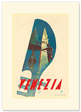 Venezia - Venice Gondolier, Italy - Premium Vintage Collectible Blank Greeting Card