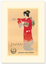 Japan Air Lines, Geisha - Premium Vintage Collectible Blank Greeting Card
