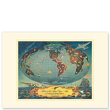 Pan Am, Routes of the Flying Clipper - Premium Vintage Collectible Blank Greeting Card