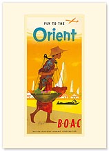 BOAC, Fly to the Orient - Premium Vintage Collectible Blank Greeting Card
