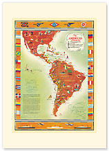 The Americas Served by, Pan American Air - Premium Vintage Collectible Blank Greeting Card