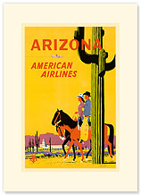 Arizona Horse Riding American Airlines - Premium Vintage Collectible Blank Greeting Card