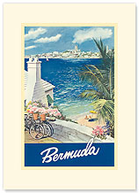 Bermuda Travel Poster - Premium Vintage Collectible Blank Greeting Card