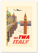 Fly TWA Italy, St. Mark Plaza - Premium Vintage Collectible Blank Greeting Card