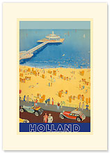 Holland Beach, Scheveningen Pier - Premium Vintage Collectible Blank Greeting Card