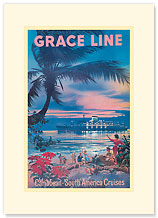 Grace Line, Caribbean & South America Cruises - Premium Vintage Collectible Blank Greeting Card