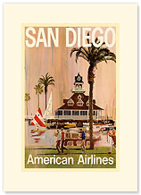 San Diego American Airlines - Premium Vintage Collectible Blank Greeting Card