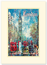 Delta Air Lines - London Big Ben - Premium Vintage Collectible Blank Greeting Card