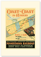 Pennsylvania Railroad: Coast to Coast in 48 Hours - Premium Vintage Collectible Blank Greeting Card