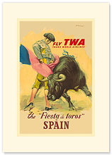 Trans World Airlines: Fly TWA - Fiesta de Toros, Spain - Premium Vintage Collectible Blank Greeting Card