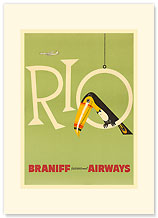 Braniff Air Rio - Premium Vintage Collectible Blank Greeting Card