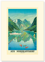 HAPAG Cruise Line, Nordkapfahrt, North Cape and Norwegian Fjords - Premium Vintage Collectible Blank Greeting Card