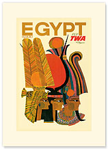 Trans World Airlines: Egypt - Fly TWA, Egyptian Profiles - Premium Vintage Collectible Blank Greeting Card