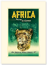 Africa By Clipper - Premium Vintage Collectible Blank Greeting Card