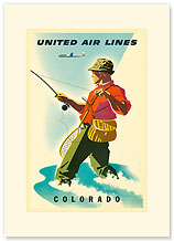United Airlines - Colorado Fisherman - Premium Vintage Collectible Blank Greeting Card