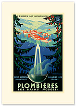 Plombieres Les Bains, Hot Springs, France - Premium Vintage Collectible Blank Greeting Card