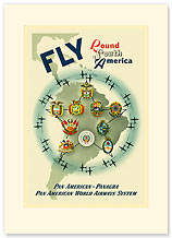 Fly Round South America - Premium Vintage Collectible Blank Greeting Card