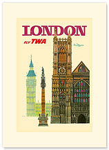 Trans World Airlines: London - Fly TWA, Palace of Westminster and Big Ben - Premium Vintage Collectible Blank Greeting Card